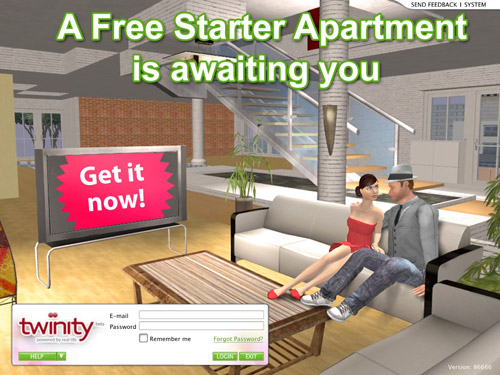 "Twinity login screen showing a spacious living room, with the words ""A Free Starter Apartment is awaiting you"" on it."
